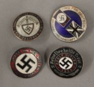 Four Nazi type badges