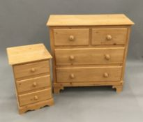 A modern pine chest of drawers and a set of bedside drawers