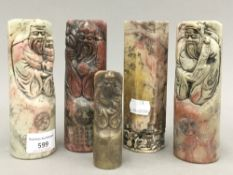 Five Chinese carved soapstone seals