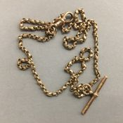 A 9 ct gold watch chain (15.