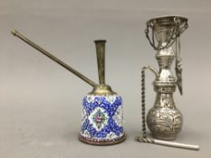 A small enamel hookah and a silver incense burner