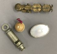 A set of sovereign scales, a pin cushion, etc.