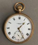 A 9 ct gold pocket watch (88 grammes total weight)
