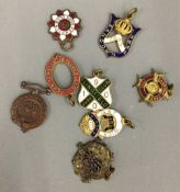 Six late Victorian enamelled racing badges,