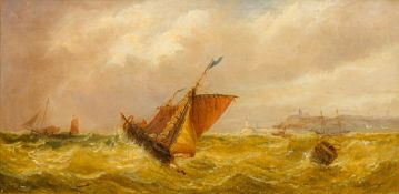 JAMES EDWIN MEADOWS (1828-1888) British, Scamps in a Stormy Sea off Whitby Bay, oil on canvas,