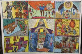 A religious missionary artwork on cloth,