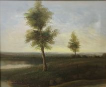 Fen River Scene, oil on canvas, indistinctly signed,