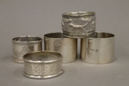 A quantity of silver and plated napkin rings (2.