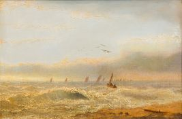 THOMAS LUCOP (1834-1911) British, Off to Sea, oil on panel, signed and dated '85, framed. 45.