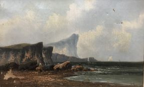 Coastal Scene, oil on canvas, indistinctly signed,