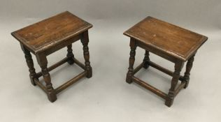 Two 18th century style oak joint stools