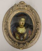 A 19th century oval framed reverse printed Portrait of Queen Mary II