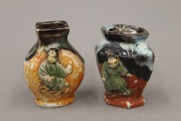 Two small late 19th/early 20th century Japanese pottery vases