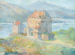 ARTHUR PALING (20th century) British, Scottish Loch-Side Castle, oil on canvas, signed, framed. 47.