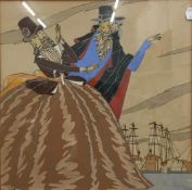 An Art Deco watercolour of two figures in pilgrim attire with ships in background,