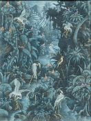 WEDANA (20th century) Balinese, Birds in an Extensive Jungle Landscape, Gouache on fabric, signed,