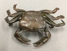 A small Japanese bronze model of a crab