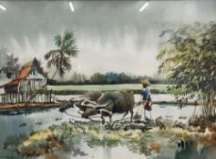 ABDUL IBRAHIM?, Farm Worker with Oxen, watercolour,