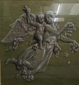 A Victorian beadwork panel depicting an Angel and Putto,