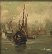 An oil on canvas laid on board, Boats at Harbour,