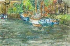HARRY WALTON FRECKLETON (1890-1979) British (AR), Boats Moored up at Snape Maltings Suffolk,