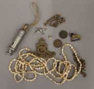 A small quantity of miscellaneous items, including jewellery, an ACME City whistle, etc.