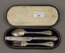 A cased silver Christening set (2.