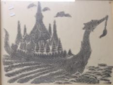An Eastern rubbing of a Dragon Boat, framed and glazed,