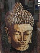 An Eastern batik on cloth, Buddha's head,