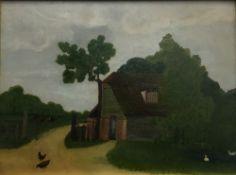 ENGLISH SCHOOL, Naive Farmhouse, oil on board, initialled CA,