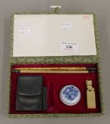 A Chinese calligraphy set