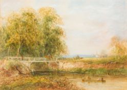 A LEWIS (19th century) British Figures Boating and Fishing Before a Busy Bridge in an Extensive
