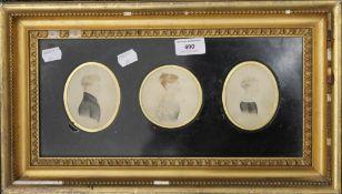 Three 19th century miniature watercolour portraits,
