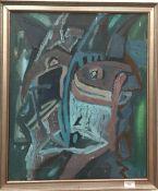 A 1960s Contemporary Art School, Cubist Face, oil on canvas,