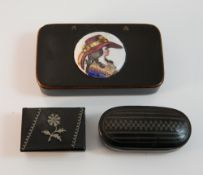 A 19th century porcelain set snuff box and two other 19th century snuff boxes