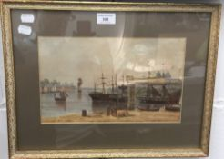 M A WATTS, Masted Boats at Anchor, watercolour, signed and dated 1852,