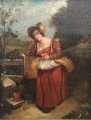 An oil on board depicting an 18th century Farm Girl,