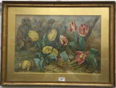 A Victorian Still Life watercolour of Tulips,