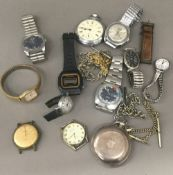 A silver pocket watch and a quantity of various watches
