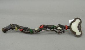 A bronze and jade ruyi sceptre