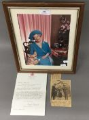 A framed photograph of the Queen Mother and a typed letter signed by Angela Oswald