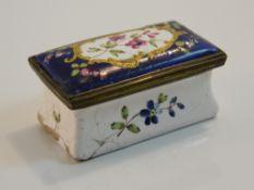 A 19th century enamel pill box