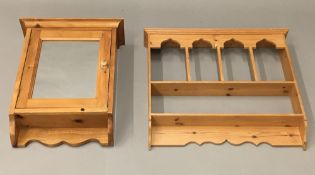 A pine hanging shelf and a pine hanging cabinet