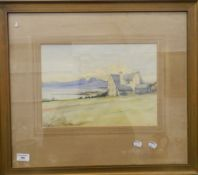 Cottage by a Loch, watercolour,