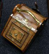 A Victorian brass mounted walnut coal box