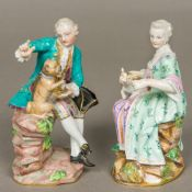 A 19th century Meissen figural group, formed as a well-dressed young gentleman with a tricorn hat,