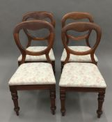 A set of four Victorian mahogany balloon back chairs