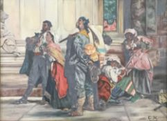 Continental Figures in an Interior, oil on canvas, signed C.H.