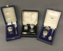 Three cased silver Christening sets (5.