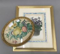 An oval framed Victorian floral watercolour and a floral print